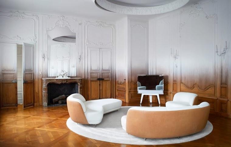 Salon-vivienda-del-distrito-16-de-Paris-residencia-de-1930-Art-Deco-paredes-pintadas-en-degradado-de-color