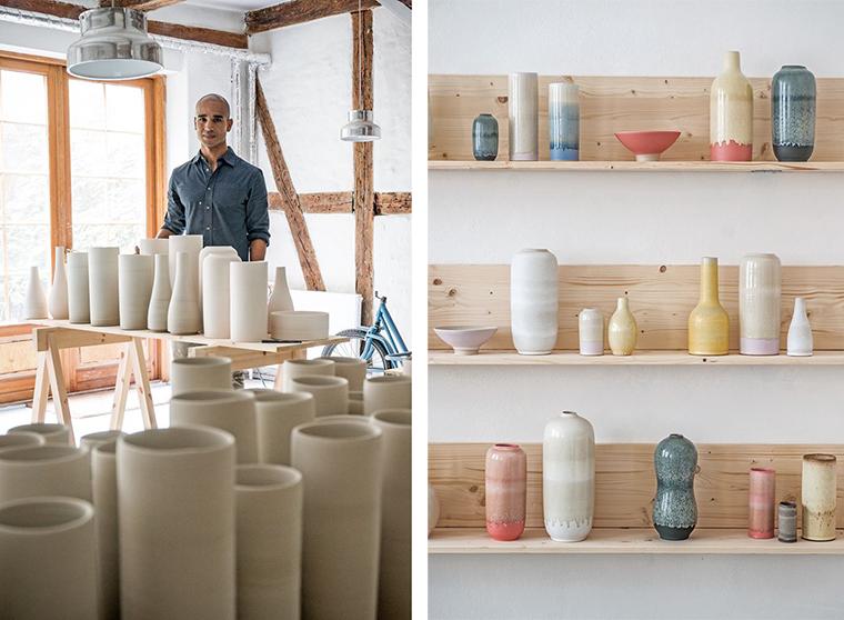 Piezas de cerámica del diseñador y maestro alfarero Eric Landon