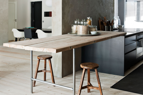 Inspiración cocina de diseño, reforma pared de hormigón zona abierta al salón