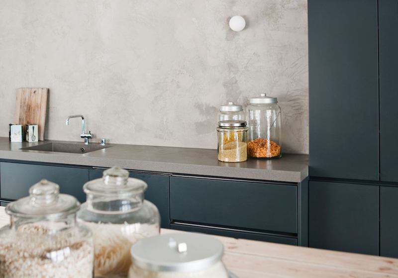 lmpara downlights integrdos inspiracin cocina de diseo puertas y mobiliario en tono azul oscuro with cocina diseo