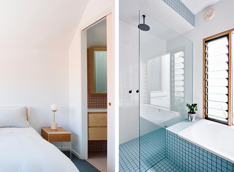 Un ba o de dise o con azulejos color pastel tr nsito inicial for En el cuarto de bano