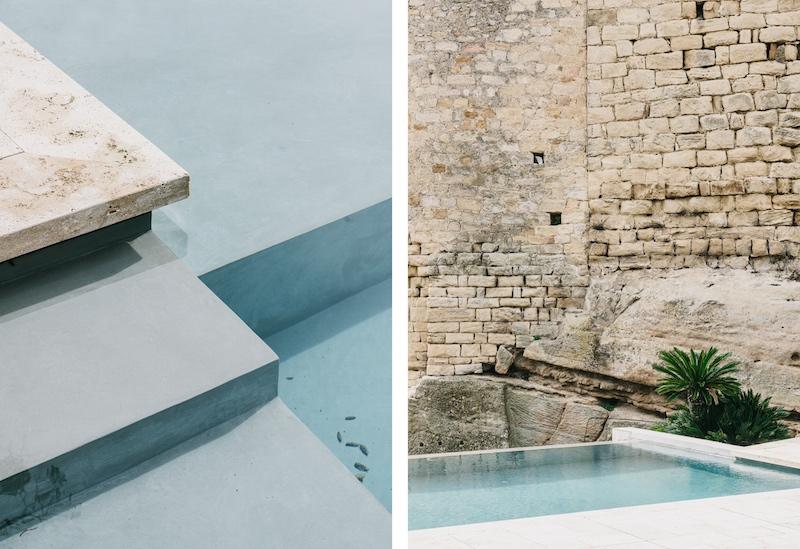 piscina minimalista en un entorno rustico castillo de Peratallada por Mesura arquitectura 2