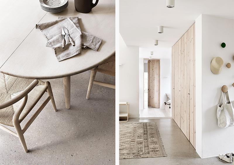 casa de campo, mobiliario de madera natural colgadores Muuto silla Wegner Ychair