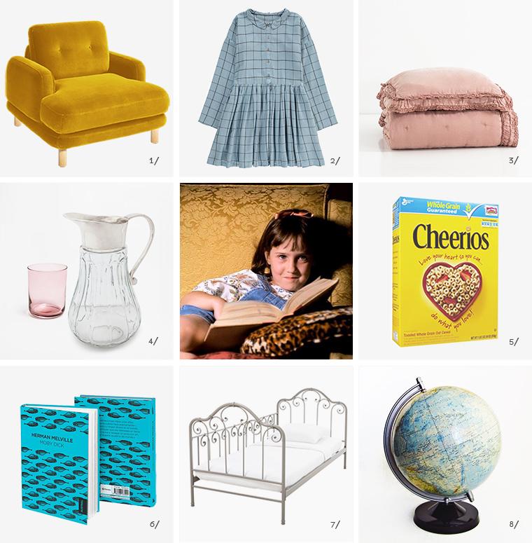 En escena, ocho objetos iconicos de la decoracion de la pelicula Matilda cereales Cheerios, libro Moby Dick, globo terreaqueo