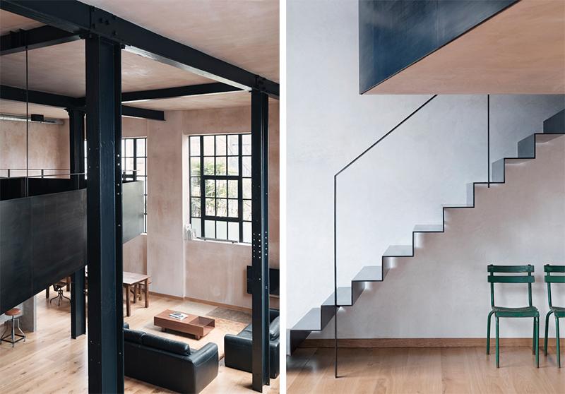 Loft en Londres estilo industrial con columnas de acero y pintura de yeso estilo estuco veneciando 2