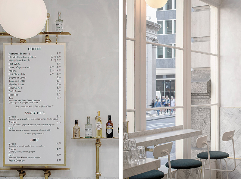 Marmol y cemento pulido reforma proyecto interior establecimiento cafe en el centro historico de Londres 7