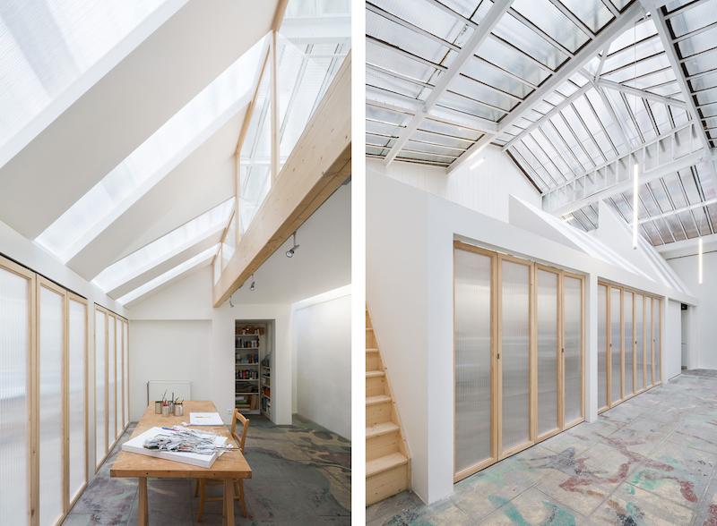 Estudio techos acristalados de un pintor en el centro de Paris patio interior edificio de 1900 3