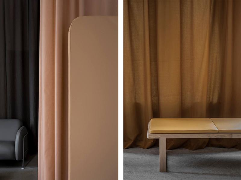 Oficina estudio gama cromatica de color con textiles, cortinas y tapizados 3