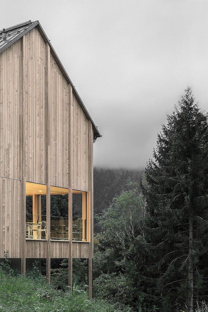 Moderna casa de campo grandes ventanales con vistas a los bosques de Austria 1