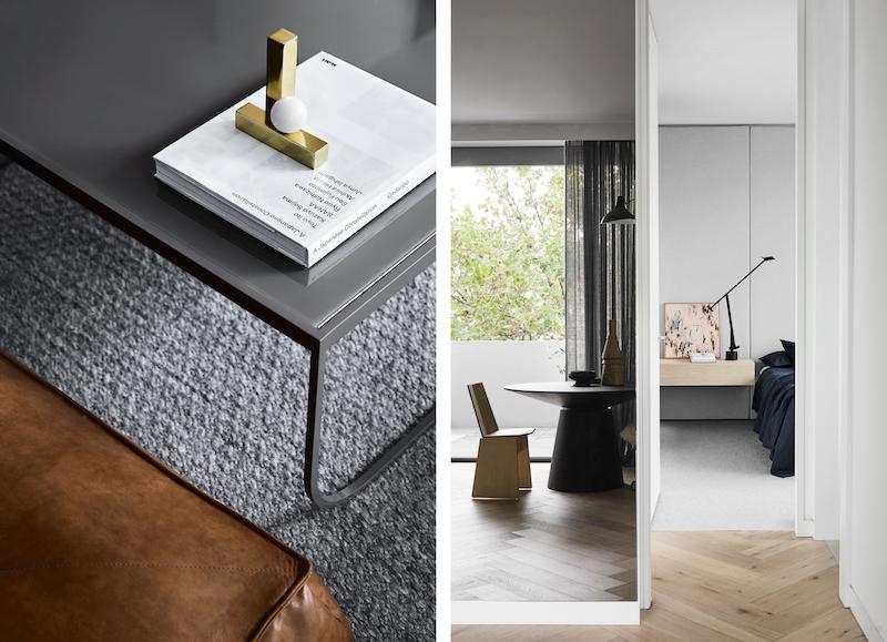 Un hogar sobrio y minimalista con suelos de madera mobiliario gris y cortinas oscuras negro 3