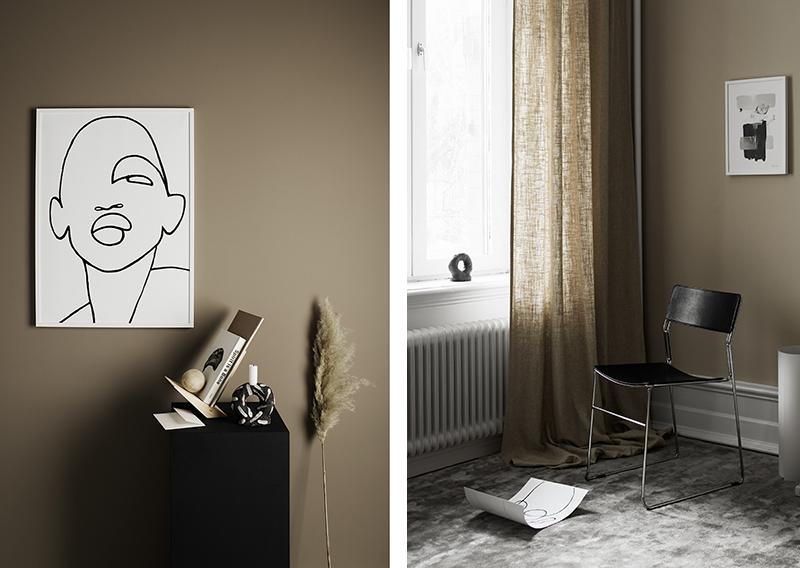 Dormitorio sobrio paredes oscuras color marron avellana obras arte negro y grises 1