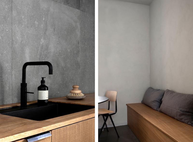 cocina mobiliario madera griferia negra baldosas acabado cemento pulido, decoracion proyecto por Norm Architects 3