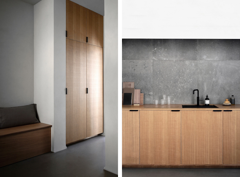 cocina mobiliario madera griferia negra baldosas acabado cemento pulido, decoracion proyecto por Norm Architects 5